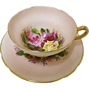 Stanley large Tri Roses Peach tea cup and saucer
