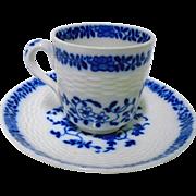 Antique Minton Flow blue Demi cup and saucer