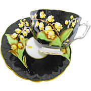 Aynsley lily of the valley black textured tea cup and saucer