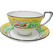 Crown Staffordshire Hand painted bird tea cup and saucer