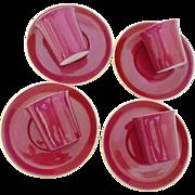 Set of 4 Shelley Mocha Handless cup and saucer, Rare set