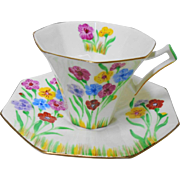 Art Deco style Melba Painted Octagonal tea cup and saucer