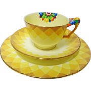 Crown Staffordshire Painted Tulip tea cup and saucer trio