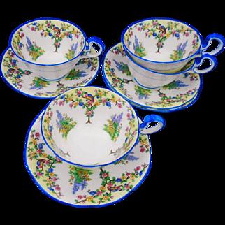 Set of 4 Aynsley art deco blossom tree bird tea cup and saucer