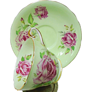Aynsley Large Pink Rose Lime tea cup and saucer