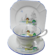 Shelley Gainsborough Lake & Balcony tea cup and saucer trio