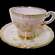 Tuscan Blush Pink gold polka dot tea cup and saucer