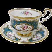 Paragon pink rose cartouche tea cup and saucer, TEAL Green