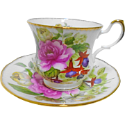 Queens Rosina Rose tea cup and saucer, Purple Fuchsia Flower