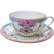 Royal Worcester pink rose tea cup and saucer, c.1915