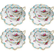 12 PC Set of Coalport turquoise enamel tea cup and saucer trio