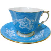 Aynsley White Rose Turquoise Tea cup and saucer