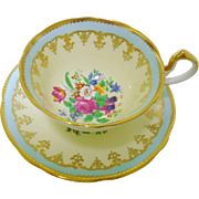 Aynsley Rose & Tulip doris tea cup and saucer
