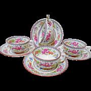 4 Cauldon art deco tea cup and saucer