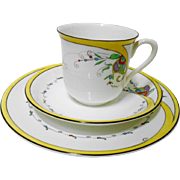 Shelley Vincent flaming tea cup and saucer trio