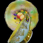 Paragon rainbow Fruit teacup set, Artist signed