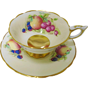 Royal Stafford Fruit & Gold Teacup duo