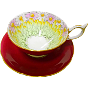 Aynsley red teacup duo, Daisy petals