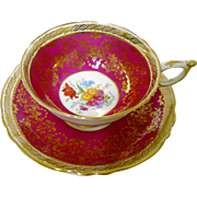 Paragon Wild Flowers & gold red teacup set