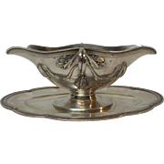 FRENCH Sterling Silver Sauce or Gravy Boat with Attached Tray