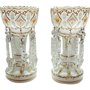 Bohemian Art Glass Mantle LUSTRES / LUSTERS Pair, c. 1885