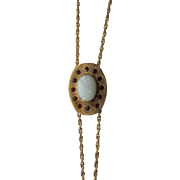 14 Karat Gold MUFF / WATCH CHAIN with Opal & Garnet Slide