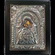 Contemporary Greek Icon Enameled Madonna & Child, .950 Silver Riza