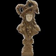 French Miniature Bronze Art Nouveau Lady Sculpture, signed Bailey