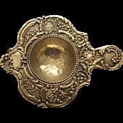 German .800 Silver Tea Strainer,  Embossed Decoration