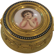 19th C. French Gilt Bronze Portrait Dresser Box