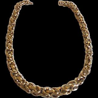 """14 Karat Gold Estate 16.5"""" BYZENTINE Chain Necklace, Italy, 45 Grams"""