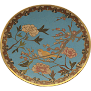 "19th C. Japanese CLOISONNE Enamel 9.5"" Plate / Charger, Bird & Flowers"