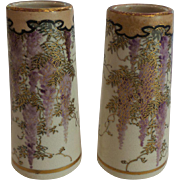 Matched Pair 19th C. Japanese SATSUMA Miniature Wisteria Vases, MEIJI Period