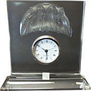 RARE Vintage LALIQUE Clear & Frosted Crystal Owl HIBOU Clock #10852, Retired