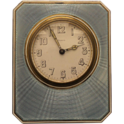 ART DECO 8-Day Travel Clock, Sterling Silver & Blue Guilloche ENAMEL Case