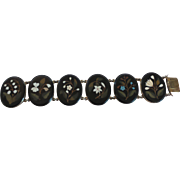 19th C. Gold Filled Bracelet, Pietra Dura (Marble Inlaid) Plaques