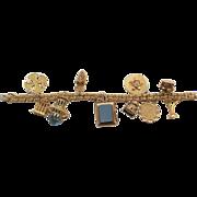 Vintage Estate 14 K Yellow GOLD Charm Bracelet, 10 Assorted Theme Charms, 75 Grams