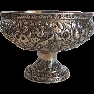 "19th C. Baltimore Sterling Silver Repousse 9"" Pedestal Bowl / Centerpiece"