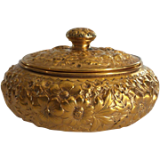 """Sterling Silver Gilt Repousse 4.5"""" Lidded Box"""