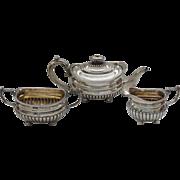 Gorgeous English Hallmarked WILLIAM BENNETT Sterling Silver 3-piece Tea Set, c. 1812