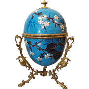 Rare 19th C. SEVRES Large Porcelain Hand Painted EGG Shaped Box, Ormolu Mount