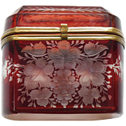 19th C. Bohemian Ruby Overlay Art Glass BOX / CASKET, Engraved Design