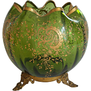 MOSER Art Glass Enameled Large ROSE BOWL, Ormolu, Green c. 1885