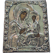 Antique Russian Icon Mary & Baby Jesus Enameled on Board, Silver Riza