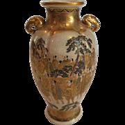 """19th C. Japanese Satsuma 7"""" Enameled & Gilt Decorated Vase, Elephant Handles"""
