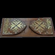 19th C. English Adjustable Wooden BOOK RACK, Ornate Brass Decoration