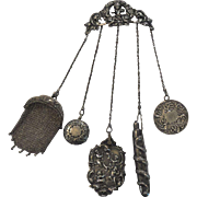 19th C. Victorian Period Sterling Silver CHATELAINE, 5 Accessories