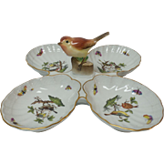 "Herend Hungary Porcelain ROTHSCHILD BIRD 11"" Shell 4-Section Relish Tray"