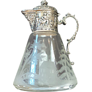 19th Century Etched Crystal SYRUP PITCHER, Continental / Dutch .830 Silver Mount