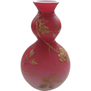 THOMAS WEBB English Peach Blow Satin Cased Glass Vase, Gilt Floral Decoration